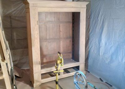 Zandstralen houten kast